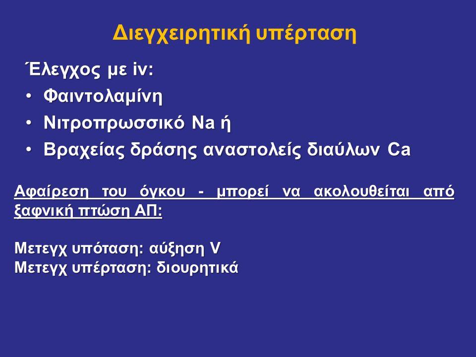 Διεγχειρητική υπέρταση Έλεγχος με iv: ΦαιντολαμίνηΦαιντολαμίνη Νιτροπρωσσικό Na ήΝιτροπρωσσικό Na ή Βραχείας δράσης αναστολείς διαύλων CaΒραχείας δράσ