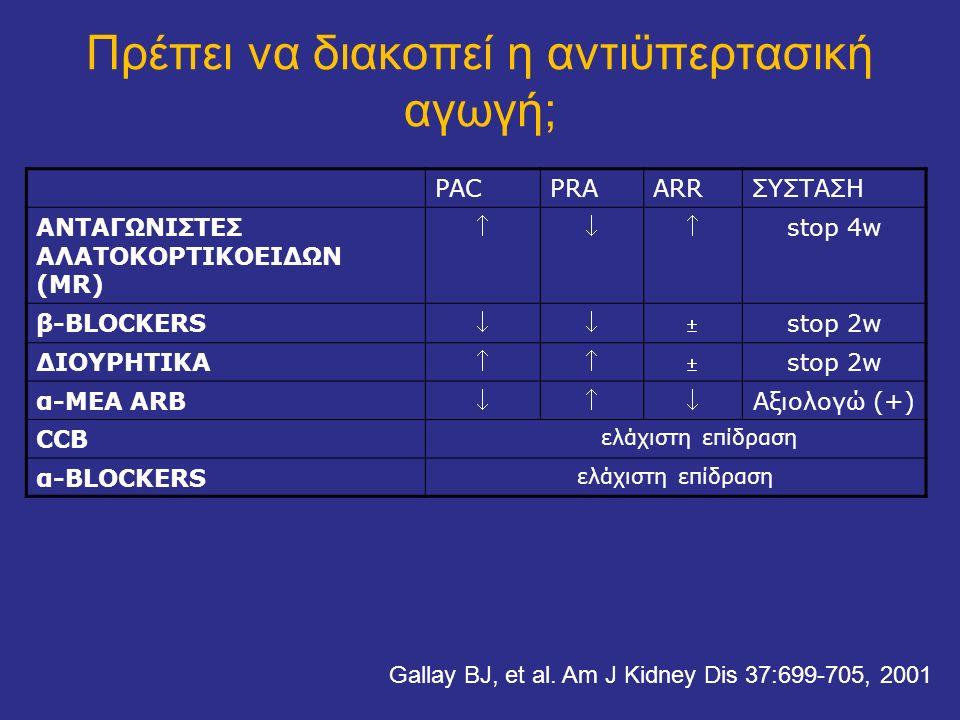 PACPRAARRΣΥΣΤΑΣΗ ΑΝΤΑΓΩΝΙΣΤΕΣ ΑΛΑΤΟΚΟΡΤΙΚΟΕΙΔΩΝ (MR)  stop 4w β-BLOCKERS  stop 2w ΔΙΟΥΡΗΤΙΚΑ  stop 2w α-ΜΕΑ ARB  Αξιολογώ (+) CCB ελάχιστη