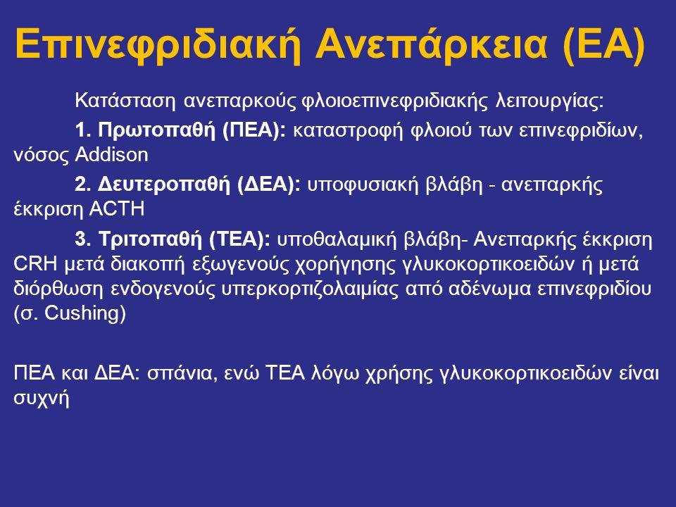 Επινεφριδιακή Ανεπάρκεια (EA) Κατάσταση ανεπαρκούς φλοιοεπινεφριδιακής λειτουργίας: 1. Πρωτοπαθή (ΠΕΑ): καταστροφή φλοιού των επινεφριδίων, νόσος Addi