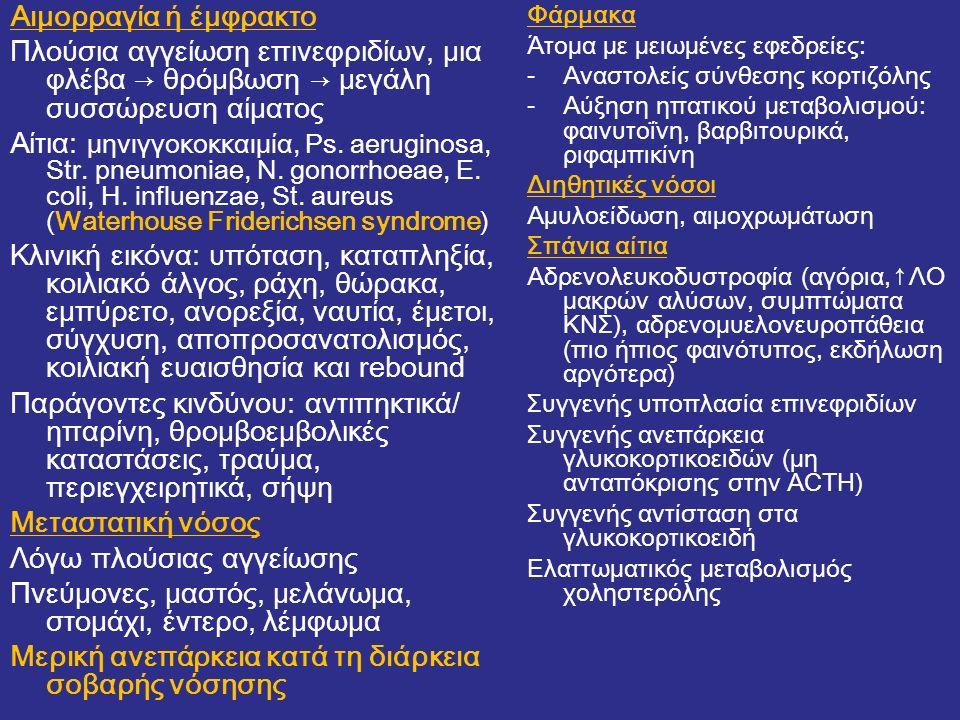 Αιμορραγία ή έμφρακτο Πλούσια αγγείωση επινεφριδίων, μια φλέβα → θρόμβωση → μεγάλη συσσώρευση αίματος Αίτια: μηνιγγοκοκκαιμία, Ps. aeruginosa, Str. pn