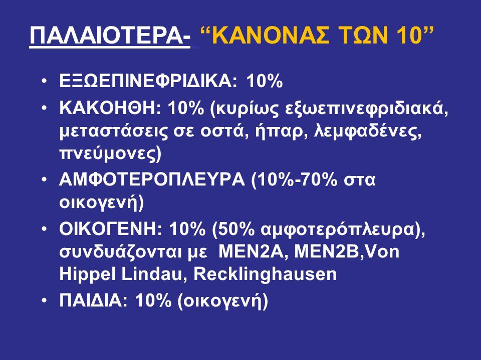 ΕΞΩΕΠΙΝΕΦΡΙΔΙΚΑ: 10% ΚΑΚΟΗΘΗ: 10% (κυρίως εξωεπινεφριδιακά, μεταστάσεις σε οστά, ήπαρ, λεμφαδένες, πνεύμονες) ΑΜΦΟΤΕΡΟΠΛΕΥΡΑ (10%-70% στα οικογενή) ΟΙ