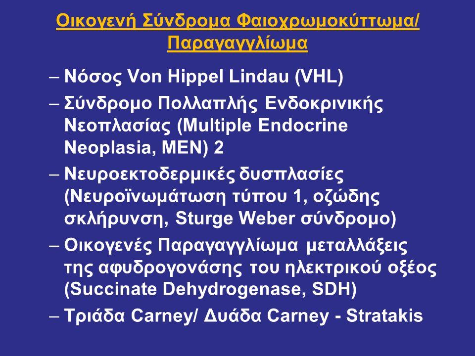 Πολλαπλή ενδοκρινική νεοπλασία τύπου 2Α (MEN2Α) Υπερπλασία παραθυρεοειδών + ΦΑΙΟ (50%, σπάνια εξωεπ., καλοήθη, Δχ< 40ετ, 50%-65% άμφω κατά τη Δχ)++ Θυρεοειδής -υπερπλασία C κυττάρων +++ -μυελοειδές καρκίνωμα+++ μετάλλαξη του ογκοκατασταλτικού πρωτοογκογονιδίου RET