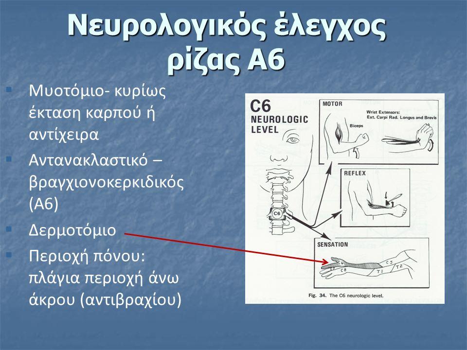  Μυοτόμιο- κυρίως έκταση καρπού ή αντίχειρα  Αντανακλαστικό – βραγχιονοκερκιδικός (Α6)  Δερμοτόμιο  Περιοχή πόνου: πλάγια περιοχή άνω άκρου (αντιβραχίου) Νευρολογικός έλεγχος ρίζας Α6