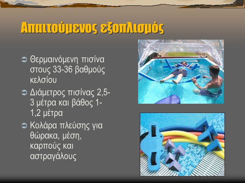 Απαιτούμενος εξοπλισμός  Θερμαινόμενη πισίνα στους 33-36 βαθμούς κελσίου  Διάμετρος πισίνας 2,5- 3 μέτρα και βάθος 1- 1,2 μέτρα  Κολάρα πλεύσης για θώρακα, μέση, καρπούς και αστραγάλους