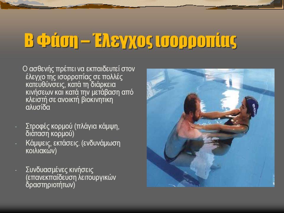 Β Φάση – Έλεγχος ισορροπίας Ο ασθενής πρέπει να εκπαιδευτεί στον έλεγχο της ισορροπίας σε πολλές κατευθύνσεις, κατά τη διάρκεια κινήσεων και κατά την μετάβαση από κλειστή σε ανοικτή βιοκινητικη αλυσίδα - Στροφές κορμού (πλάγια κάμψη, διάταση κορμού) - Κάμψεις, εκτάσεις.