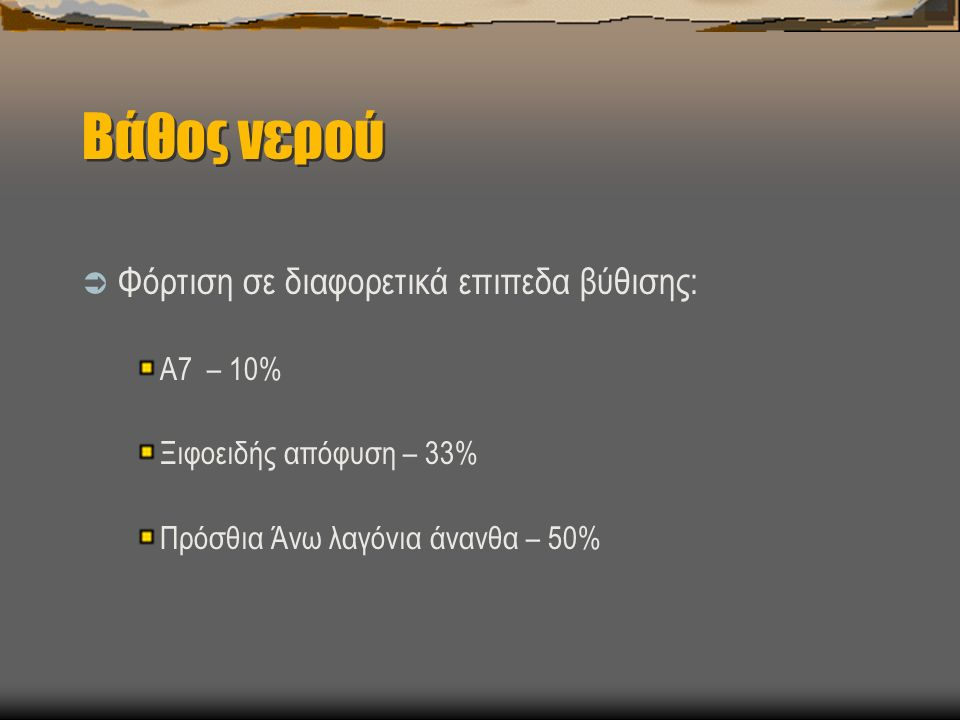 Βάθος νερού  Φόρτιση σε διαφορετικά επιπεδα βύθισης: Α7 – 10% Ξιφοειδής απόφυση – 33% Πρόσθια Άνω λαγόνια άνανθα – 50%