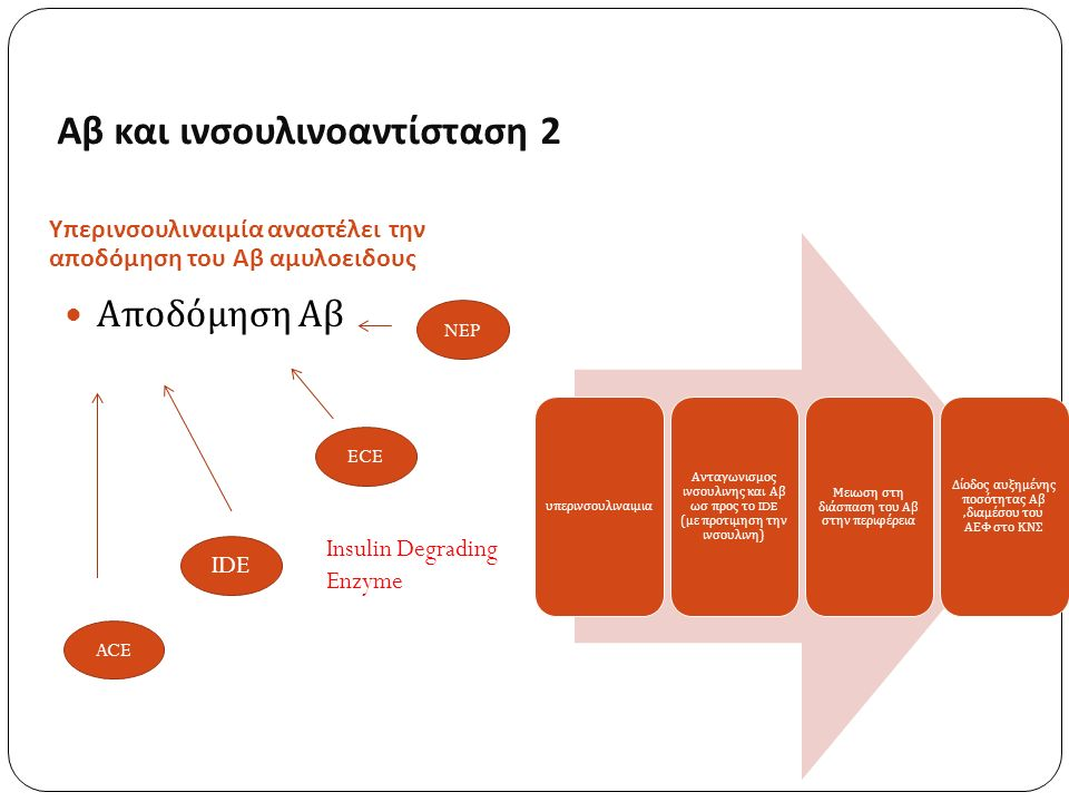Αβ και ινσουλινοαντίσταση 2 Υπερινσουλιναιμία αναστέλει την αποδόμηση του Αβ αμυλοειδους Αποδόμηση Αβ υ π ερινσουλιναιμια Ανταγωνισμος ινσουλινης και Αβ ωσ π ρος το IDE ( με π ροτιμηση την ινσουλινη ) Μειωση στη διάσ π αση του Αβ στην π εριφέρεια Δίοδος αυξημένης π οσότητας Αβ, διαμέσου του ΑΕΦ στο ΚΝΣ NEP ECE IDE ACE Insulin Degrading Enzyme
