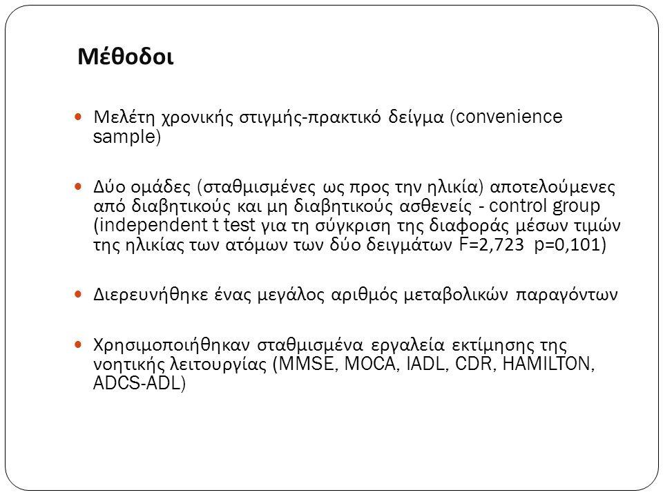 Μέθοδοι Μελέτη χρονικής στιγμής - πρακτικό δείγμα (convenience sample) Δύο ομάδες ( σταθμισμένες ως προς την ηλικία ) αποτελούμενες από διαβητικούς κα