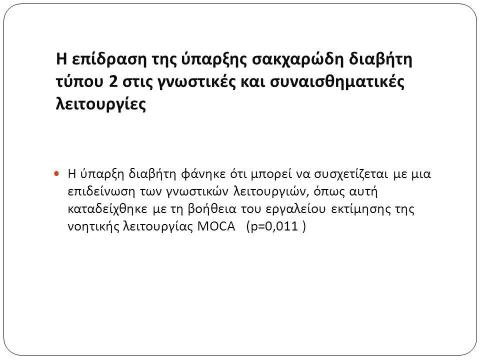 Η επίδραση της ύπαρξης σακχαρώδη διαβήτη τύπου 2 στις γνωστικές και συναισθηματικές λειτουργίες Η ύπαρξη διαβήτη φάνηκε ότι μπορεί να συσχετίζεται με μια επιδείνωση των γνωστικών λειτουργιών, όπως αυτή καταδείχθηκε με τη βοήθεια του εργαλείου εκτίμησης της νοητικής λειτουργίας MOCA (p=0,011 )