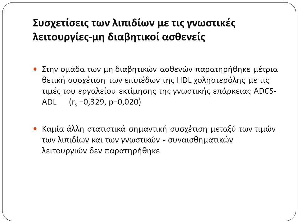 Συσχετίσεις των λιπιδίων με τις γνωστικές λειτουργίες - μη διαβητικοί ασθενείς Στην ομάδα των μη διαβητικών ασθενών παρατηρήθηκε μέτρια θετική συσχέτιση των επιπέδων της HDL χοληστερόλης με τις τιμές του εργαλείου εκτίμησης της γνωστικής επάρκειας ADCS- ADL (r s =0,329, p=0,020) Καμία άλλη στατιστικά σημαντική συσχέτιση μεταξύ των τιμών των λιπιδίων και των γνωστικών - συναισθηματικών λειτουργιών δεν παρατηρήθηκε