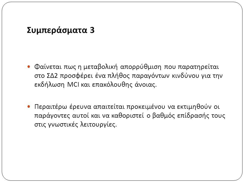 Συμπεράσματα 3 Φαίνεται πως η μεταβολική απορρύθμιση που παρατηρείται στο ΣΔ2 προσφέρει ένα πλήθος παραγόντων κινδύνου για την εκδήλωση MCI και επακόλουθης άνοιας.