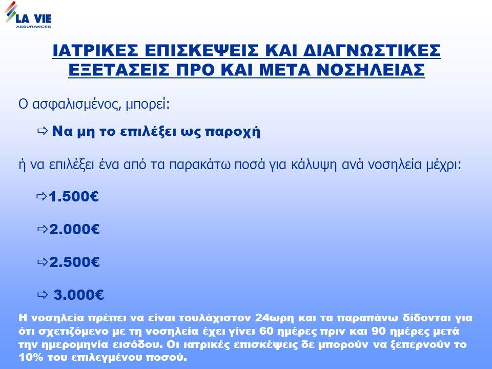 ΙΑΤΡΙΚΕΣ ΕΠΙΣΚΕΨΕΙΣ ΚΑΙ ΔΙΑΓΝΩΣΤΙΚΕΣ ΕΞΕΤΑΣΕΙΣ ΠΡΟ ΚΑΙ ΜΕΤΑ ΝΟΣΗΛΕΙΑΣ Ο ασφαλισμένος, μπορεί:  Να μη το επιλέξει ως παροχή ή να επιλέξει ένα από τα παρακάτω ποσά για κάλυψη ανά νοσηλεία μέχρι:  1.500€  2.000€  2.500€  3.000€ Η νοσηλεία πρέπει να είναι τουλάχιστον 24ωρη και τα παραπάνω δίδονται για ότι σχετιζόμενο με τη νοσηλεία έχει γίνει 60 ημέρες πριν και 90 ημέρες μετά την ημερομηνία εισόδου.
