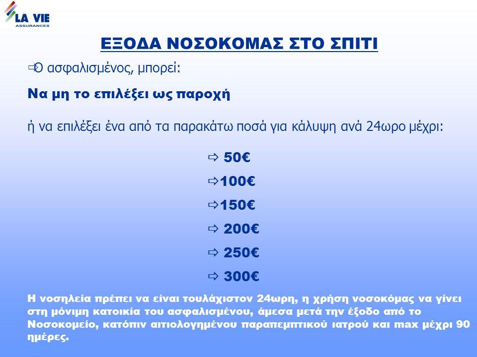 ΕΞΟΔΑ ΝΟΣΟΚΟΜΑΣ ΣΤΟ ΣΠΙΤΙ  Ο ασφαλισμένος, μπορεί: Να μη το επιλέξει ως παροχή ή να επιλέξει ένα από τα παρακάτω ποσά για κάλυψη ανά 24ωρο μέχρι:  50€  100€  150€  200€  250€  300€ Η νοσηλεία πρέπει να είναι τουλάχιστον 24ωρη, η χρήση νοσοκόμας να γίνει στη μόνιμη κατοικία του ασφαλισμένου, άμεσα μετά την έξοδο από το Νοσοκομείο, κατόπιν αιτιολογημένου παραπεμπτικού ιατρού και max μέχρι 90 ημέρες.