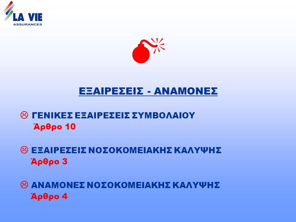 ΕΞΑΙΡΕΣΕΙΣ - ΑΝΑΜΟΝΕΣ  ΓΕΝΙΚΕΣ ΕΞΑΙΡΕΣΕΙΣ ΣΥΜΒΟΛΑΙΟΥ Άρθρο 10  ΕΞΑΙΡΕΣΕΙΣ ΝΟΣΟΚΟΜΕΙΑΚΗΣ ΚΑΛΥΨΗΣ Άρθρο 3  ΑΝΑΜΟΝΕΣ ΝΟΣΟΚΟΜΕΙΑΚΗΣ ΚΑΛΥΨΗΣ Άρθρο 4