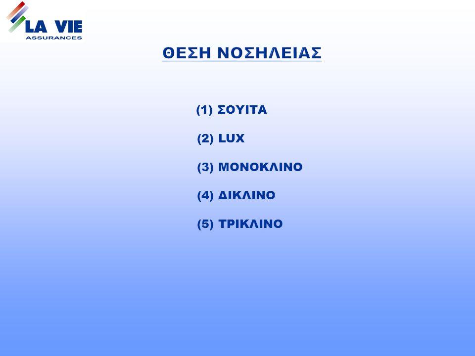 (1) ΣΟΥΙΤΑ (2) LUX (3) ΜΟΝΟΚΛΙΝΟ (4) ΔΙΚΛΙΝΟ (5) ΤΡΙΚΛΙΝΟ