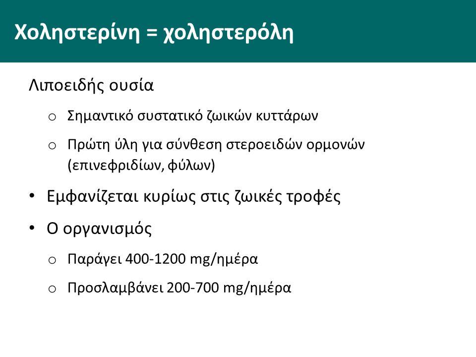 Χοληστερίνη = χοληστερόλη Λιποειδής ουσία o Σημαντικό συστατικό ζωικών κυττάρων o Πρώτη ύλη για σύνθεση στεροειδών ορμονών (επινεφριδίων, φύλων) Εμφανίζεται κυρίως στις ζωικές τροφές Ο οργανισμός o Παράγει 400-1200 mg/ημέρα o Προσλαμβάνει 200-700 mg/ημέρα