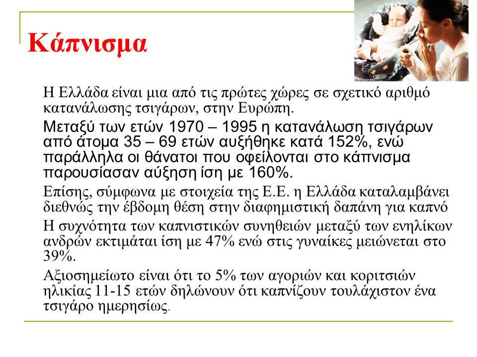 Κάπνισμα H Ελλάδα είναι μια από τις πρώτες χώρες σε σχετικό αριθμό κατανάλωσης τσιγάρων, στην Ευρώπη.