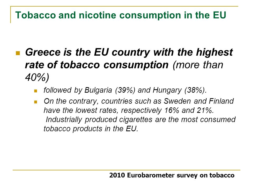 Tobacco and nicotine consumption in the EU Greece is the EU country with the highest rate of tobacco consumption (more than 40%) followed by Bulgaria (39%) and Hungary (38%).