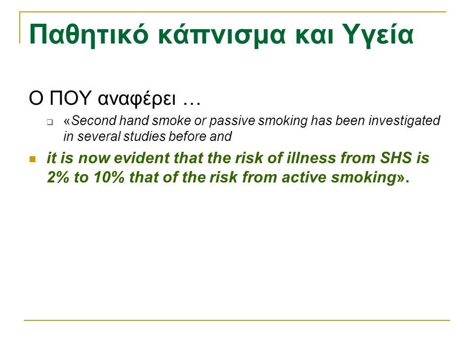 Παθητικό κάπνισμα και Υγεία Ο ΠΟΥ αναφέρει …  «Second hand smoke or passive smoking has been investigated in several studies before and it is now evident that the risk of illness from SHS is 2% to 10% that of the risk from active smoking».