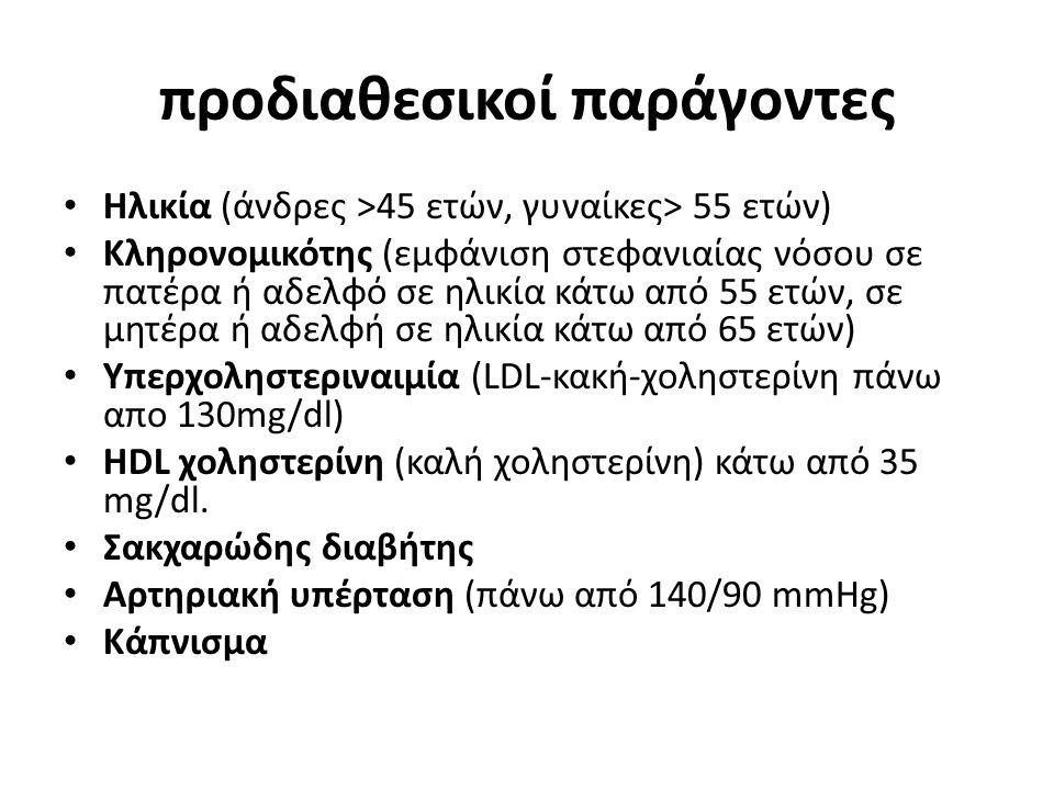 προδιαθεσικοί παράγοντες Ηλικία (άνδρες >45 ετών, γυναίκες> 55 ετών) Κληρονομικότης (εμφάνιση στεφανιαίας νόσου σε πατέρα ή αδελφό σε ηλικία κάτω από 55 ετών, σε μητέρα ή αδελφή σε ηλικία κάτω από 65 ετών) Υπερχοληστεριναιμία (LDL-κακή-χοληστερίνη πάνω απο 130mg/dl) HDL χοληστερίνη (καλή χοληστερίνη) κάτω από 35 mg/dl.