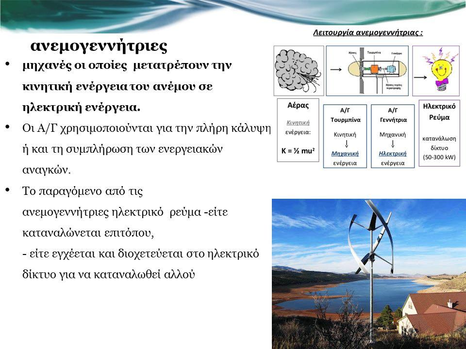 ανεμογεννήτριες μηχανές οι οποίες μετατρέπουν την κινητική ενέργεια του ανέμου σε ηλεκτρική ενέργεια.