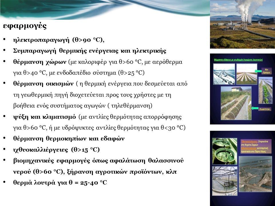 εφαρμογές ηλεκτροπαραγωγή (θ>90 °C), Συμπαραγωγή θερμικής ενέργειας και ηλεκτρικής θέρμανση χώρων (με καλοριφέρ για θ>60 °C, με αερόθερμα για θ>40 °C, με ενδοδαπέδιο σύστημα (θ>25 °C) θέρμανση οικισμών ( η θερμική ενέργεια που δεσμεύεται από τη γεωθερμική πηγή διοχετεύεται προς τους χρήστες με τη βοήθεια ενός συστήματος αγωγών ( τηλεθέρμανση) ψύξη και κλιματισμό (με αντλίες θερμότητας απορρόφησης για θ>60 °C, ή με υδρόψυκτες αντλίες θερμότητας για θ<30 °C) θέρμανση θερμοκηπίων και εδαφών ιχθυοκαλλιέργειες (θ>15 °C) βιομηχανικές εφαρμογές όπως αφαλάτωση θαλασσινού νερού (θ>60 °C), ξήρανση αγροτικών προϊόντων, κλπ θερμά λουτρά για θ = 25-40 °C