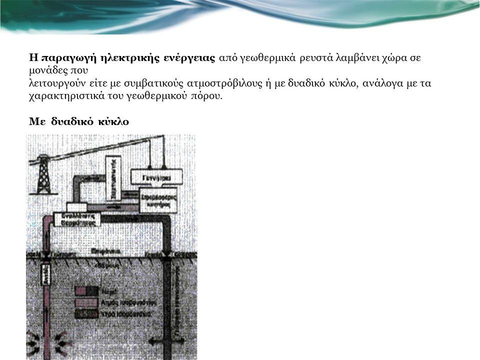 Η παραγωγή ηλεκτρικής ενέργειας από γεωθερμικά ρευστά λαμβάνει χώρα σε μονάδες που λειτουργούν είτε με συμβατικούς ατμοστρόβιλους ή με δυαδικό κύκλο, ανάλογα με τα χαρακτηριστικά του γεωθερμικού πόρου.