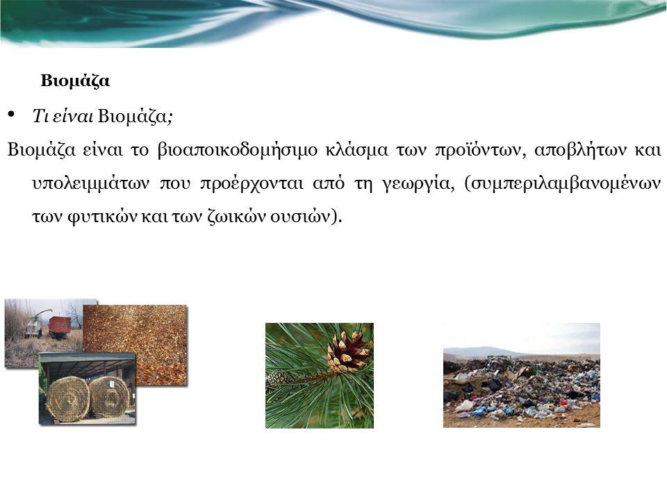 Βιομάζα Τι είναι Βιομάζα; Βιομάζα είναι το βιοαποικοδομήσιμο κλάσμα των προϊόντων, αποβλήτων και υπολειμμάτων που προέρχονται από τη γεωργία, (συμπεριλαμβανομένων των φυτικών και των ζωικών ουσιών).