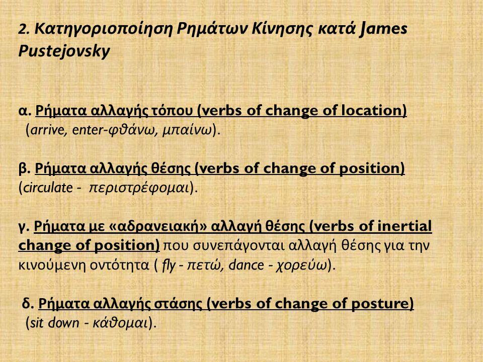2. K ατηγοριοποίηση Ρημάτων Κίνησης κατά James Pustejovsky α.