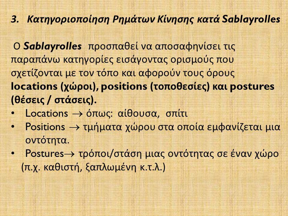 3.Κατηγοριοποίηση Ρημάτων Κίνησης κατά Sablayrolles Ο Sablayrolles προσπαθεί να αποσαφηνίσει τις παραπάνω κατηγορίες εισάγοντας ορισμούς που σχετίζονται με τον τόπο και αφορούν τους όρους locations ( χώροι ), positions ( τοποθεσίες ) και postures ( θέσεις / στάσεις ).