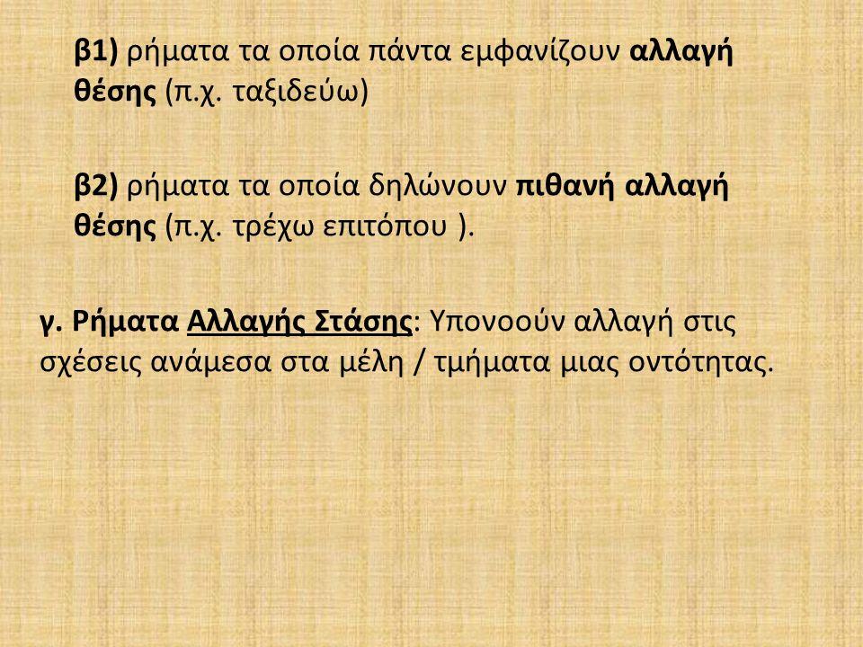 β 1) ρήματα τα οποία πάντα εμφανίζουν αλλαγή θέσης ( π.
