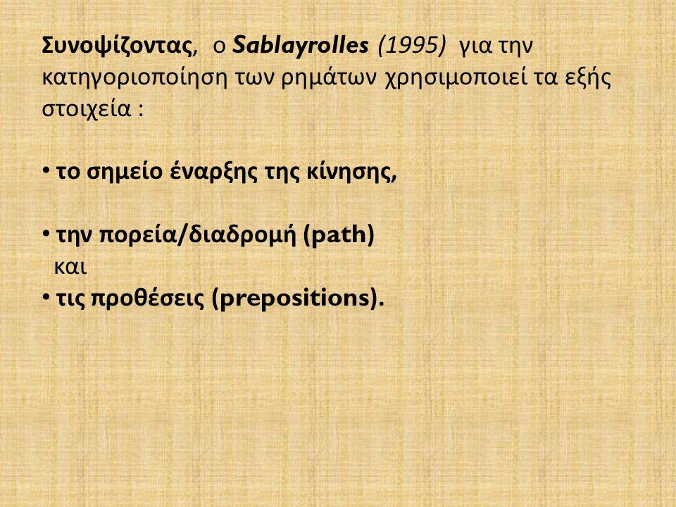 Συνοψίζοντας, ο Sablayrolles (1995) για την κατηγοριοποίηση των ρημάτων χρησιμοποιεί τα εξής στοιχεία : το σημείο έναρξης της κίνησης, την πορεία/διαδρομή ( path ) και τις προθέσεις ( prepositions ).