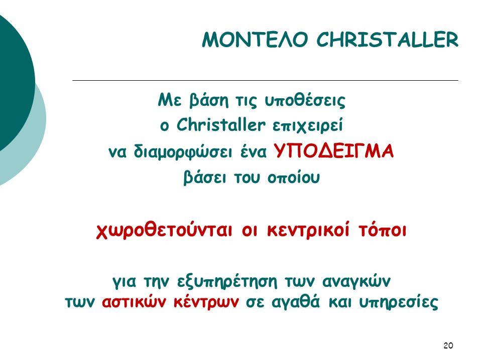 Με βάση τις υποθέσεις ο Christaller επιχειρεί να διαμορφώσει ένα ΥΠΟΔΕΙΓΜΑ βάσει του οποίου χωροθετούνται οι κεντρικοί τόποι για την εξυπηρέτηση των αναγκών των αστικών κέντρων σε αγαθά και υπηρεσίες 20 ΜΟΝΤΕΛΟ CHRISTALLER