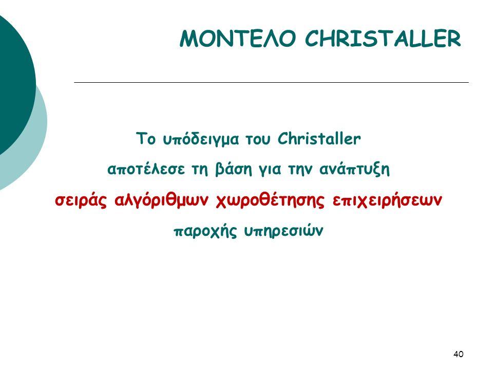 Το υπόδειγμα του Christaller αποτέλεσε τη βάση για την ανάπτυξη σειράς αλγόριθμων χωροθέτησης επιχειρήσεων παροχής υπηρεσιών 40 ΜΟΝΤΕΛΟ CHRISTALLER