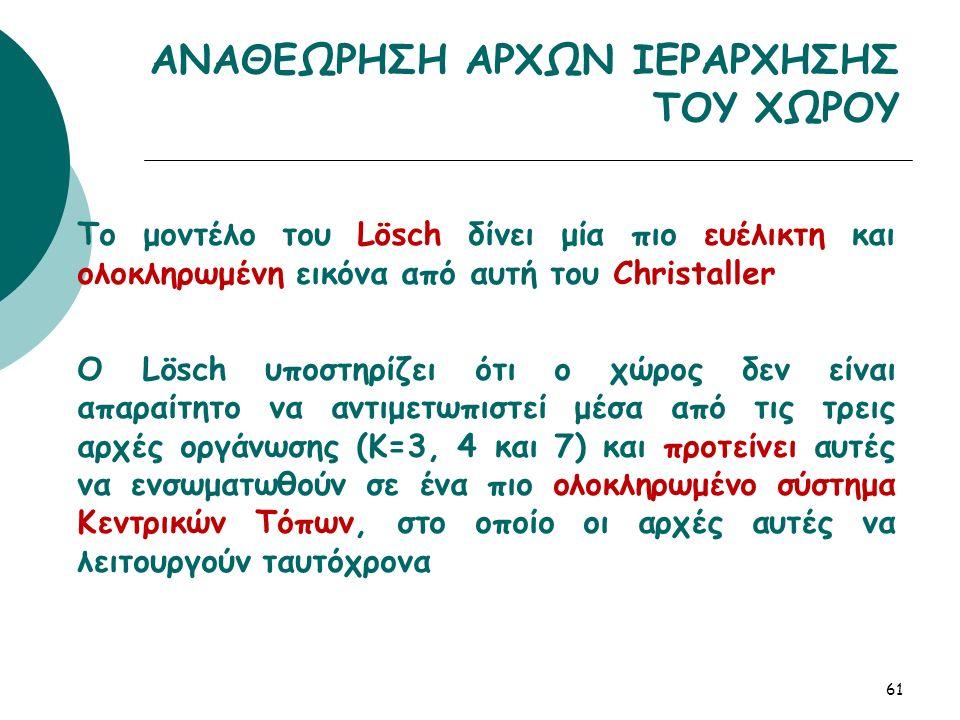 Το μοντέλο του Lösch δίνει μία πιο ευέλικτη και ολοκληρωμένη εικόνα από αυτή του Christaller Ο Lösch υποστηρίζει ότι ο χώρος δεν είναι απαραίτητο να αντιμετωπιστεί μέσα από τις τρεις αρχές οργάνωσης (Κ=3, 4 και 7) και προτείνει αυτές να ενσωματωθούν σε ένα πιο ολοκληρωμένο σύστημα Κεντρικών Τόπων, στο οποίο οι αρχές αυτές να λειτουργούν ταυτόχρονα 61 ΑΝΑΘΕΩΡΗΣΗ ΑΡΧΩΝ ΙΕΡΑΡΧΗΣΗΣ ΤΟΥ ΧΩΡΟΥ