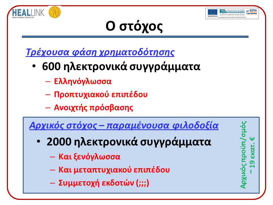 Ο στόχος 600 ηλεκτρονικά συγγράμματα – Ελληνόγλωσσα – Προπτυχιακού επιπέδου – Ανοιχτής πρόσβασης Τρέχουσα φάση χρηματοδότησης Αρχικός στόχος – παραμένουσα φιλοδοξία 2000 ηλεκτρονικά συγγράμματα – Και ξενόγλωσσα – Και μεταπτυχιακού επιπέδου – Συμμετοχή εκδοτών (;;;) Αρχικός προϋπ/σμός ~ 19 εκατ.