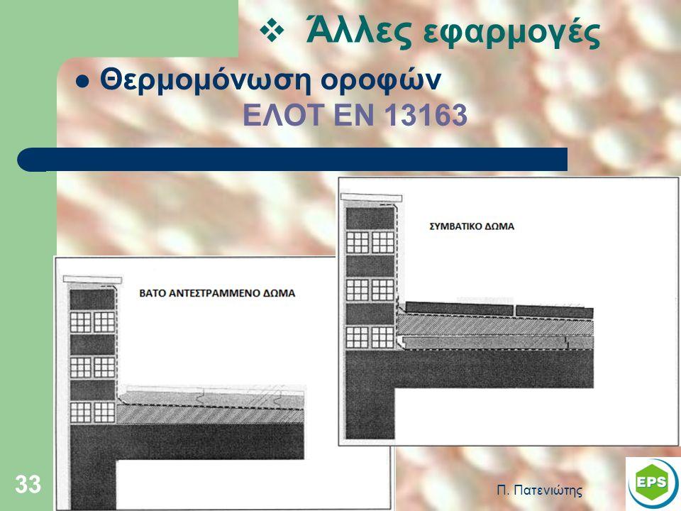 Π. Πατενιώτης 33 Θερμομόνωση οροφών ΕΛΟΤ ΕΝ 13163  Άλλες εφαρμογές