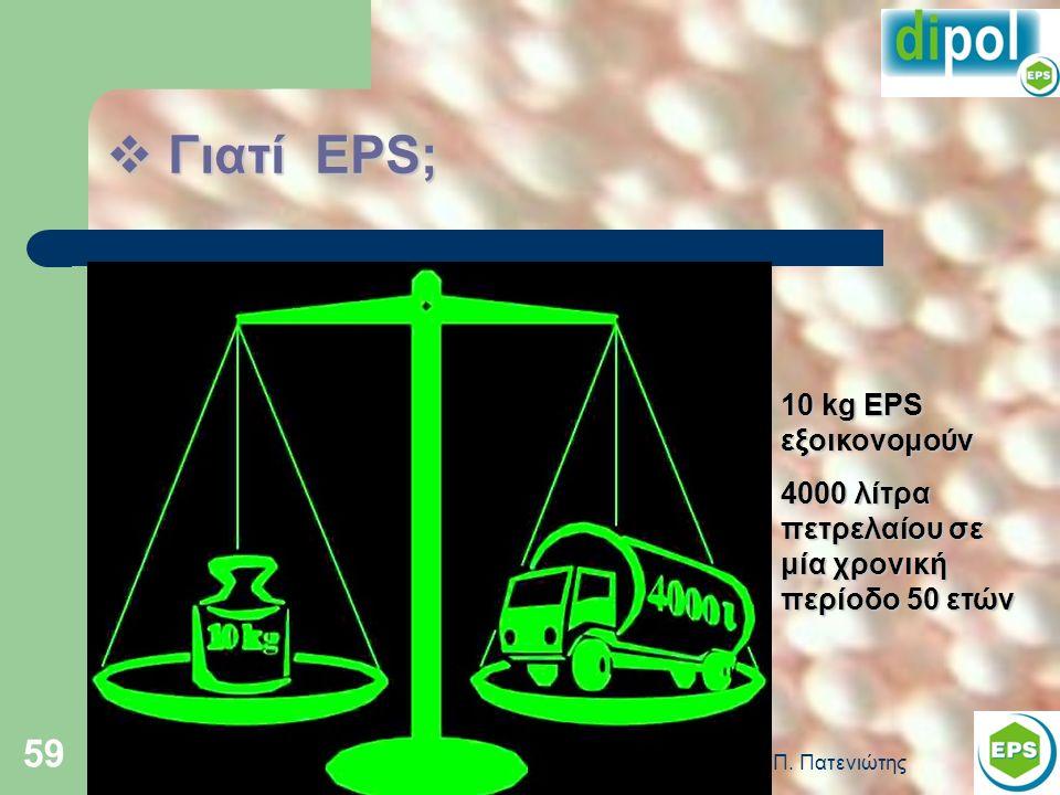 59  Γιατί EPS; 10 kg EPS εξοικονομούν 4000 λίτρα πετρελαίου σε μία χρονική περίοδο 50 ετών
