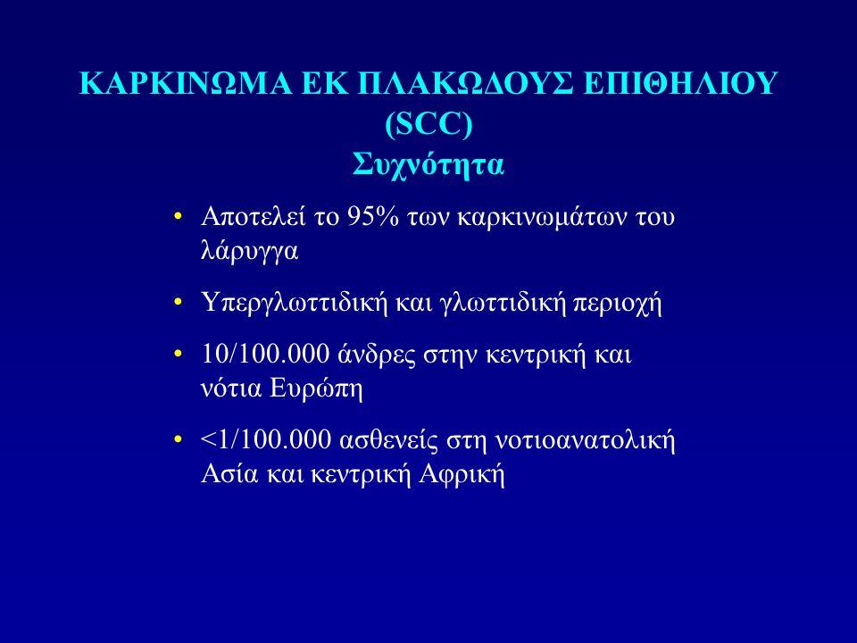 Aποτελεί το 95% των καρκινωμάτων του λάρυγγα Υπεργλωττιδική και γλωττιδική περιοχή 10/100.000 άνδρες στην κεντρική και νότια Ευρώπη <1/100.000 ασθενεί