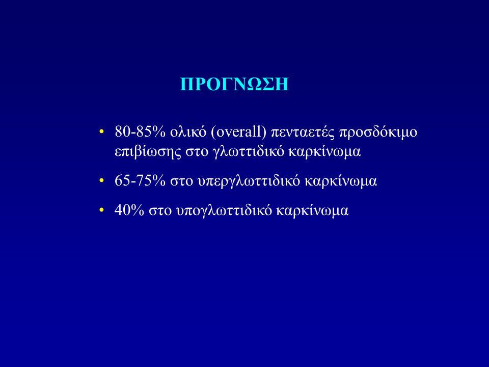 80-85% ολικό (overall) πενταετές προσδόκιμο επιβίωσης στο γλωττιδικό καρκίνωμα 65-75% στο υπεργλωττιδικό καρκίνωμα 40% στο υπογλωττιδικό καρκίνωμα ΠΡΟ