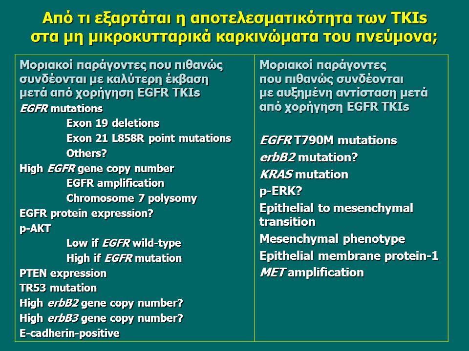 Aπό τι εξαρτάται η αποτελεσματικότητα των TKIs στα μη μικροκυτταρικά καρκινώματα του πνεύμονα; Μοριακοί παράγοντες που πιθανώς συνδέονται με καλύτερη έκβαση μετά από χορήγηση EGFR ΤKIs EGFR mutations Exon 19 deletions Exon 21 L858R point mutations Others.