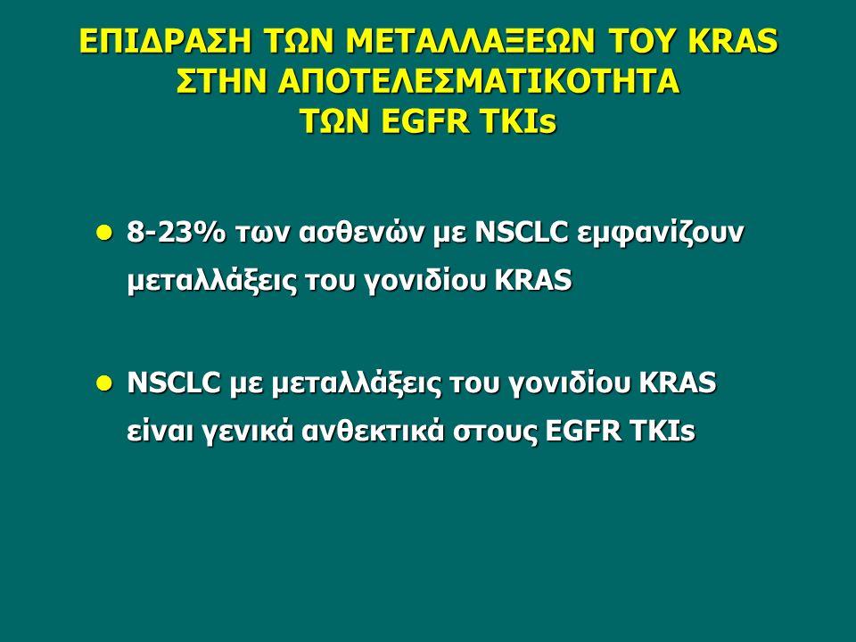 ΕΠΙΔΡΑΣΗ ΤΩΝ ΜΕΤΑΛΛΑΞΕΩΝ ΤΟΥ KRAS ΣΤΗΝ ΑΠΟΤΕΛΕΣΜΑΤΙΚΟΤΗΤΑ ΤΩΝ EGFR TKIs 8-23% των ασθενών με NSCLC εμφανίζουν μεταλλάξεις του γονιδίου KRAS 8-23% των ασθενών με NSCLC εμφανίζουν μεταλλάξεις του γονιδίου KRAS NSCLC με μεταλλάξεις του γονιδίου KRAS είναι γενικά ανθεκτικά στους EGFR TKIs NSCLC με μεταλλάξεις του γονιδίου KRAS είναι γενικά ανθεκτικά στους EGFR TKIs