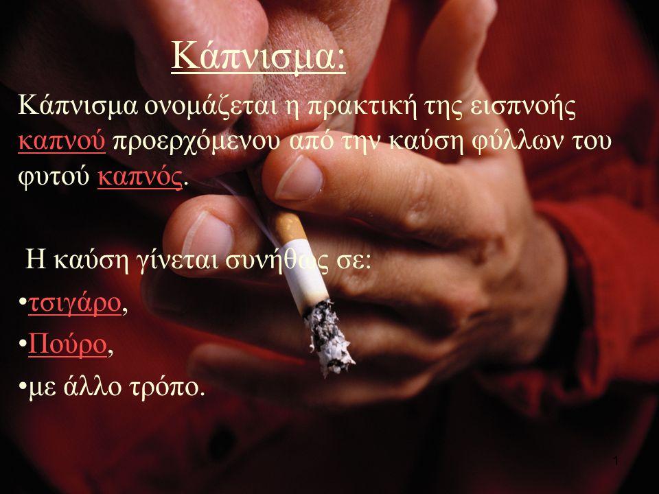 1 Κάπνισμα: Κάπνισμα ονομάζεται η πρακτική της εισπνοής καπνού προερχόμενου από την καύση φύλλων του φυτού καπνός.