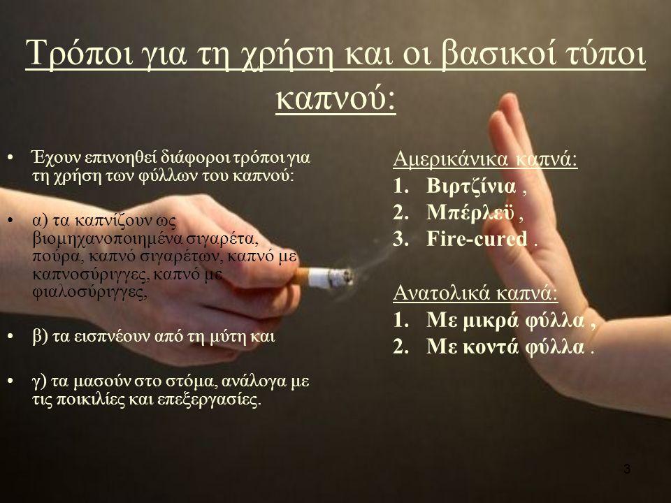 3 Τρόποι για τη χρήση και οι βασικοί τύποι καπνού: Έχουν επινοηθεί διάφοροι τρόποι για τη χρήση των φύλλων του καπνού: α) τα καπνίζουν ως βιομηχανοποιημένα σιγαρέτα, πούρα, καπνό σιγαρέτων, καπνό με καπνοσύριγγες, καπνό με φιαλοσύριγγες, β) τα εισπνέουν από τη μύτη και γ) τα μασούν στο στόμα, ανάλογα με τις ποικιλίες και επεξεργασίες.