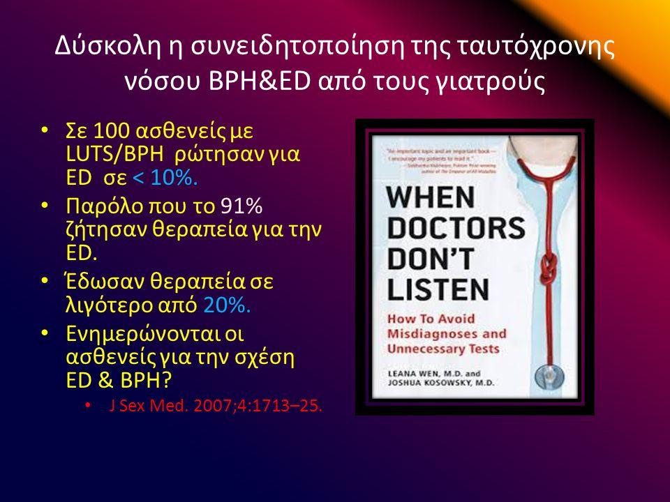 Δύσκολη η συνειδητοποίηση της ταυτόχρονης νόσου BPH&ED από τους γιατρούς Σε 100 ασθενείς με LUTS/BPH ρώτησαν για ED σε < 10%.