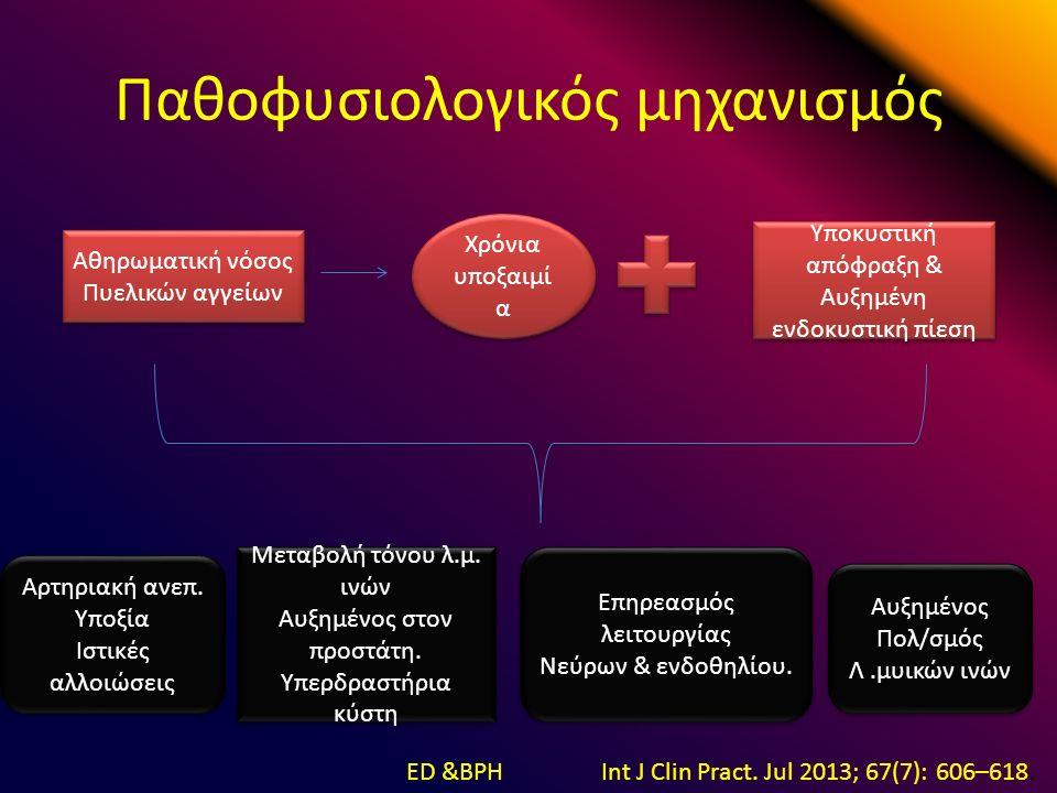 Παθοφυσιολογικός μηχανισμός Αθηρωματική νόσος Πυελικών αγγείων Αθηρωματική νόσος Πυελικών αγγείων Χρόνια υποξαιμί α Υποκυστική απόφραξη & Αυξημένη ενδοκυστική πίεση Υποκυστική απόφραξη & Αυξημένη ενδοκυστική πίεση Αρτηριακή ανεπ.