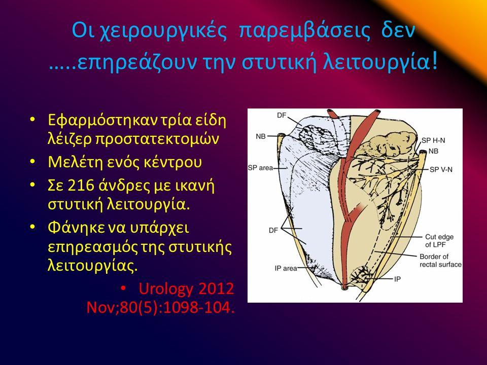 Οι χειρουργικές παρεμβάσεις δεν …..επηρεάζουν την στυτική λειτουργία .