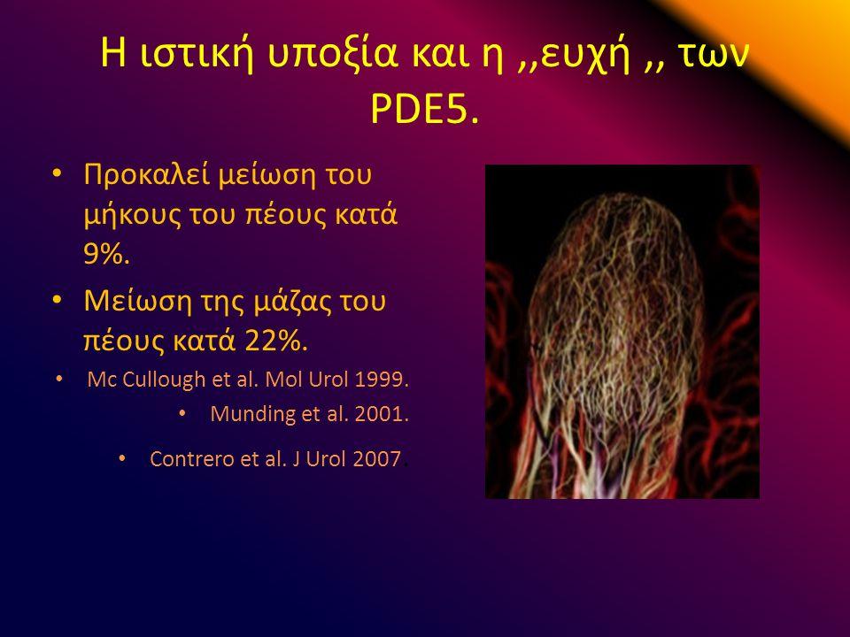 Η ιστική υποξία και η,,ευχή,, των PDE5. Προκαλεί μείωση του μήκους του πέους κατά 9%.