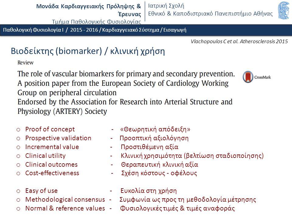 Μονάδα Καρδιαγγειακής Πρόληψης & Έρευνας Τμήμα Παθολογικής Φυσιολογίας Ιατρική Σχολή Εθνικό & Καποδιστριακό Πανεπιστήμιο Αθήνας Βιοδείκτης (biomarker) / κλινική χρήση Vlachopoulos C et al.