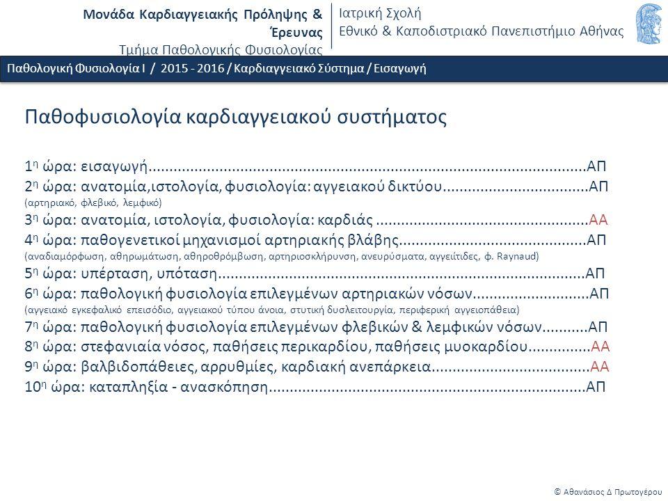 Μονάδα Καρδιαγγειακής Πρόληψης & Έρευνας Τμήμα Παθολογικής Φυσιολογίας Ιατρική Σχολή Εθνικό & Καποδιστριακό Πανεπιστήμιο Αθήνας Παθοφυσιολογία καρδιαγγειακού συστήματος 1 η ώρα: εισαγωγή.........................................................................................................ΑΠ 2 η ώρα: ανατομία,ιστολογία, φυσιολογία: αγγειακού δικτύου...................................ΑΠ (αρτηριακό, φλεβικό, λεμφικό) 3 η ώρα: ανατομία, ιστολογία, φυσιολογία: καρδιάς...................................................ΑΑ 4 η ώρα: παθογενετικοί μηχανισμοί αρτηριακής βλάβης.............................................ΑΠ (αναδιαμόρφωση, αθηρωμάτωση, αθηροθρόμβωση, αρτηριοσκλήρυνση, ανευρύσματα, αγγειίτιδες, φ.